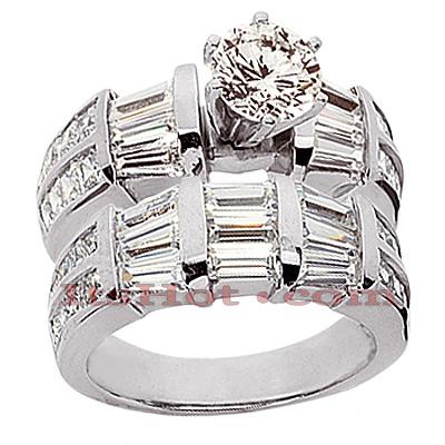 14K Gold Diamond Designer Engagement Ring Set 4.84ct