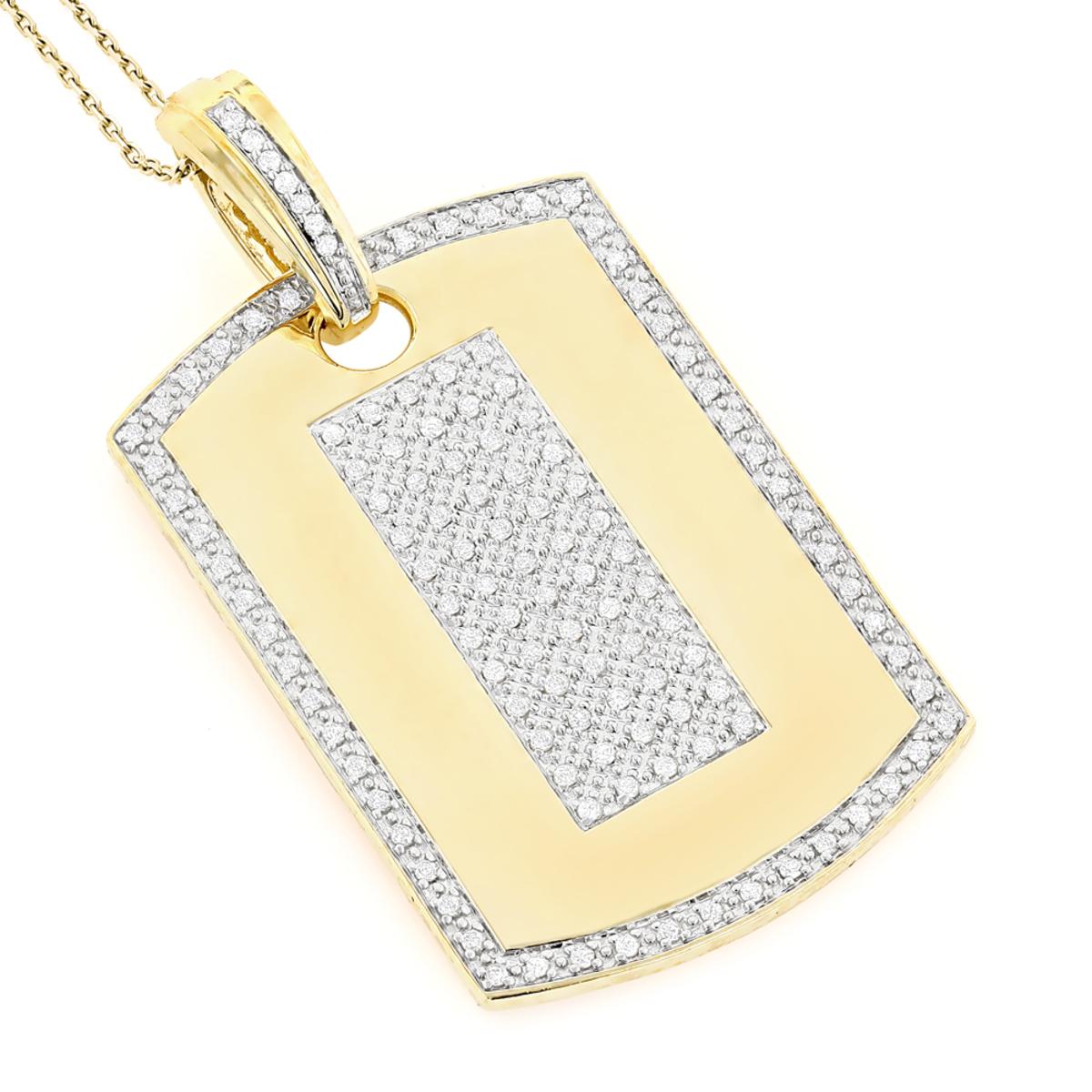 14K Gold Diamond Dog Tag Military Pendant 1.95ct