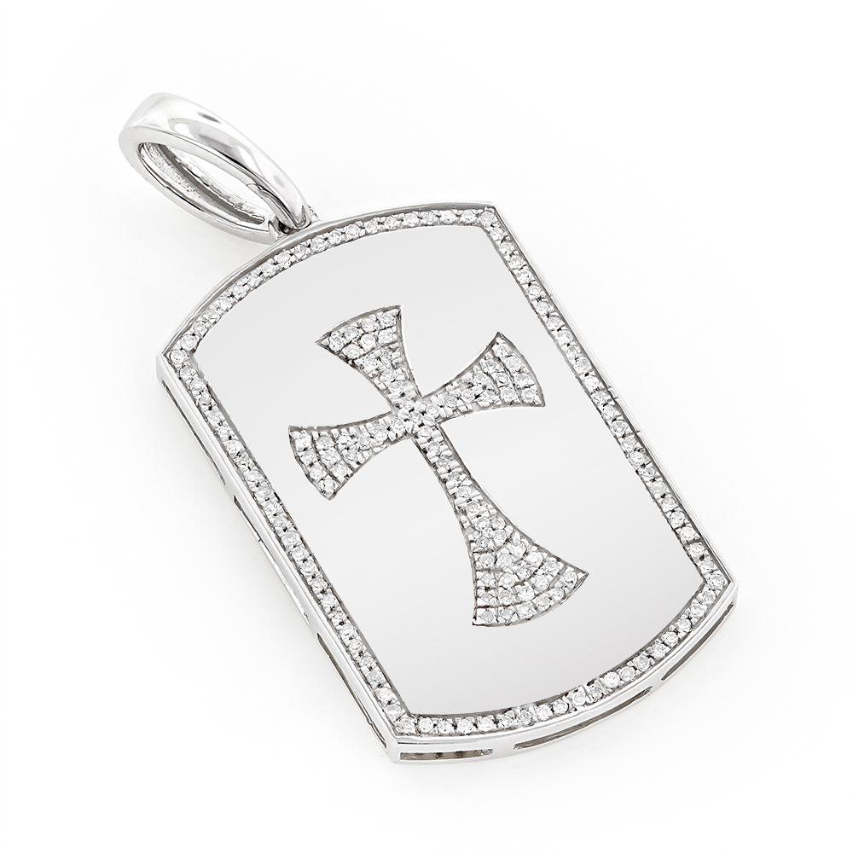 14K Gold Diamond Dog Tag Pendant with Celtic Cross 0.33ct