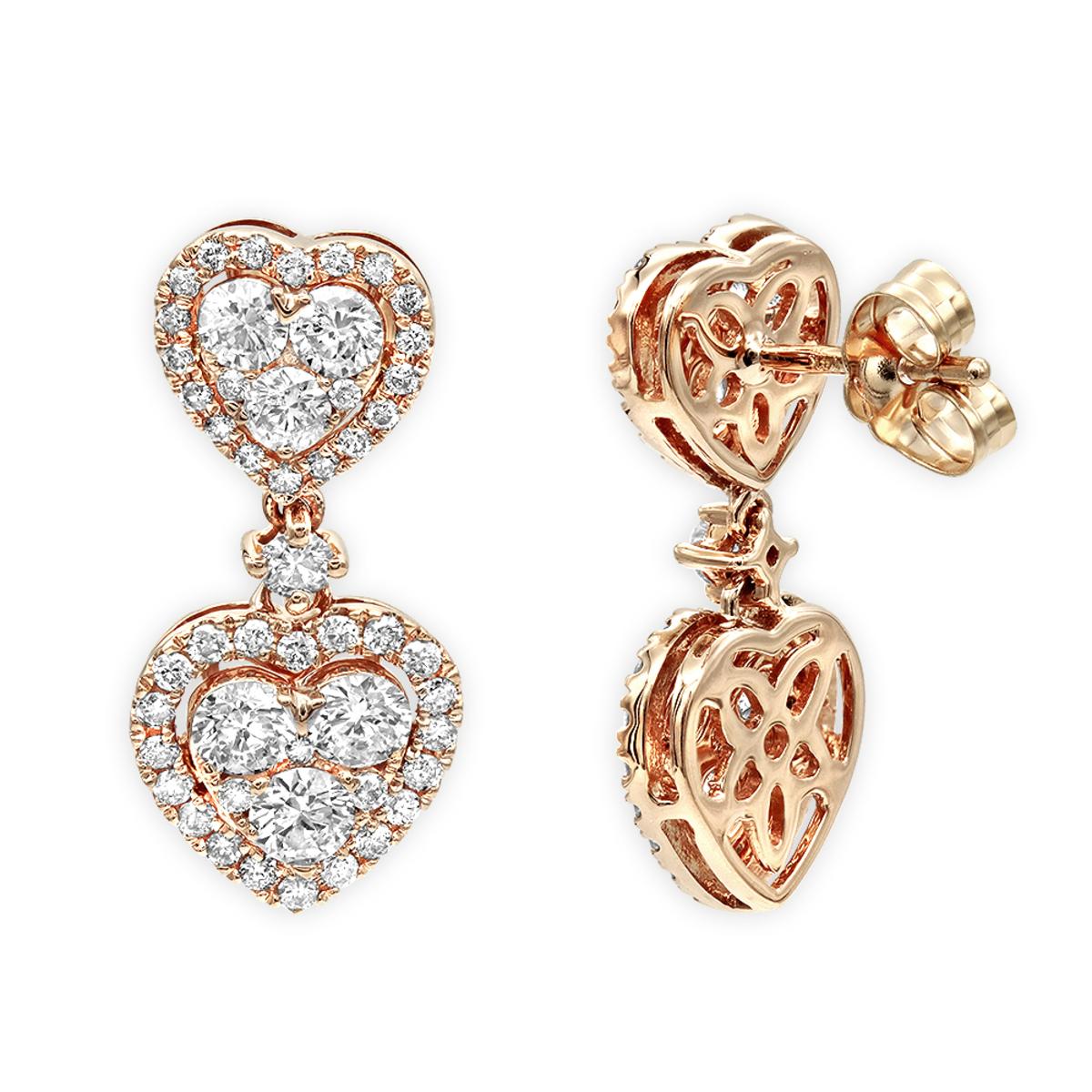 14K Gold Diamond Double Heart Drop Earrings for Women 1.7ct by Luxurman