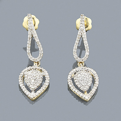 14K Gold Diamond Drop Earrings 0.42ct