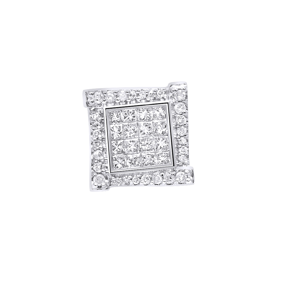 14k Gold Diamond Earring for Men Single Stud Princess Round Diamonds 0.5ct