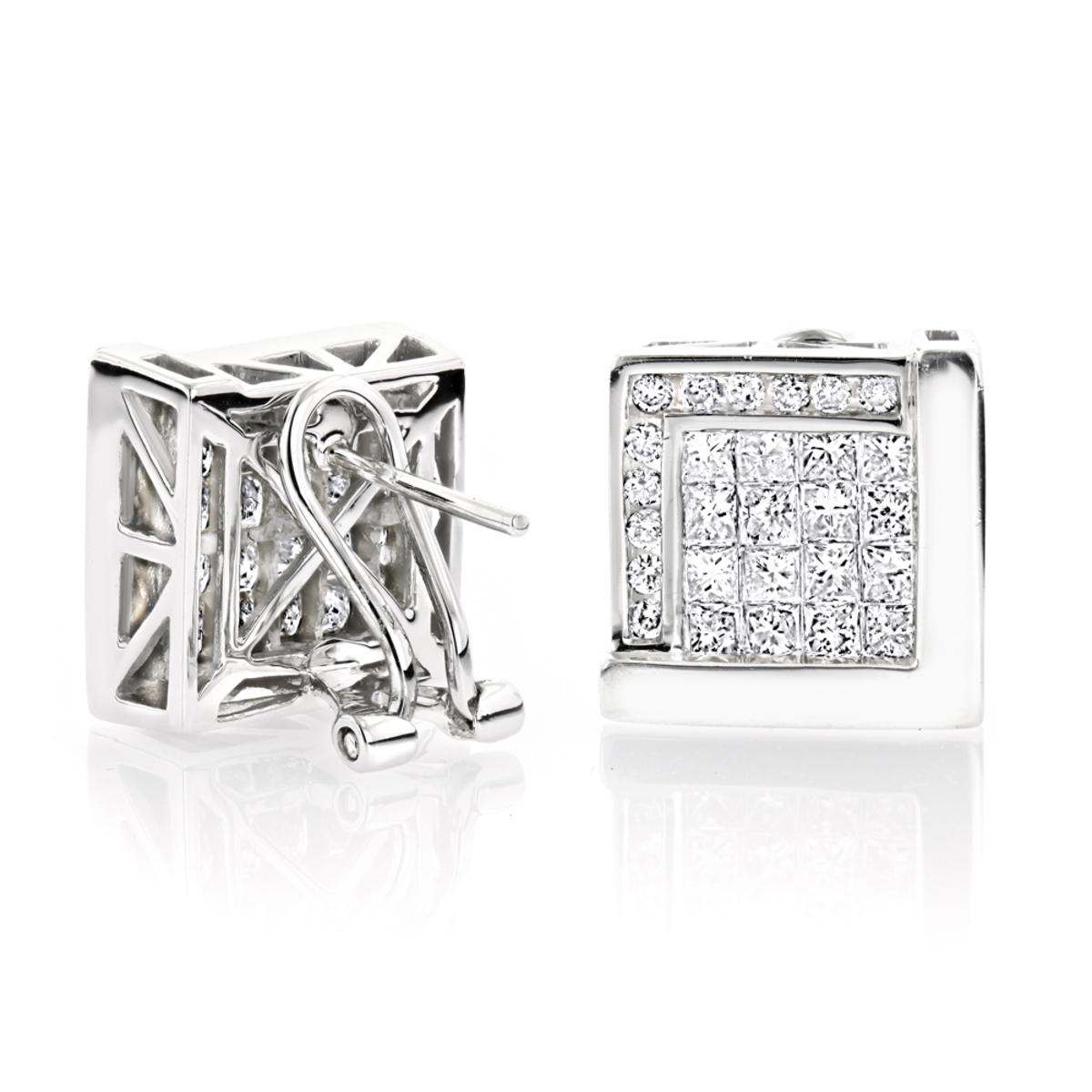 14K Gold Diamond Earrings Princess Cut & Round 2.49ct