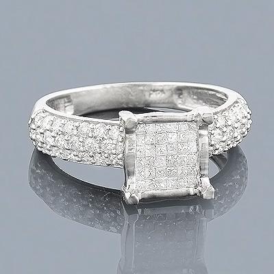 14K Gold Diamond Engagement Ring 0.95ct