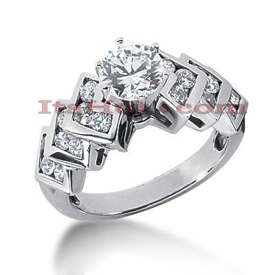 14K Gold Diamond Engagement Ring 1.13ct