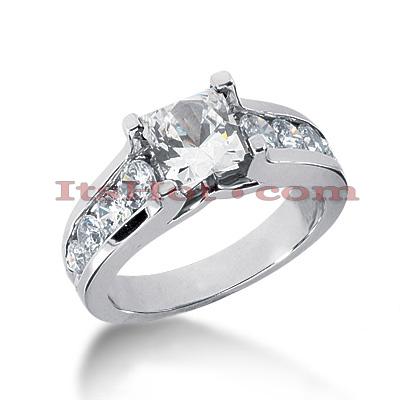 14K Gold Princess Cut Diamond Engagement Ring 2.13ct