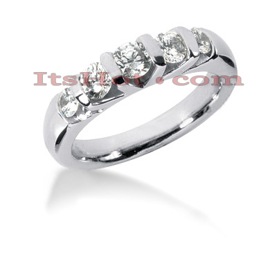 Thin 14K Gold Diamond Engagement Ring Band 0.89ct