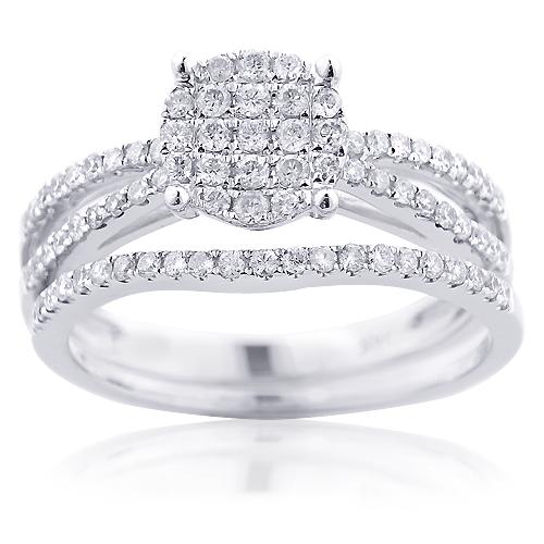 14K Gold Diamond Engagement Ring Bridal Set 0.66ct