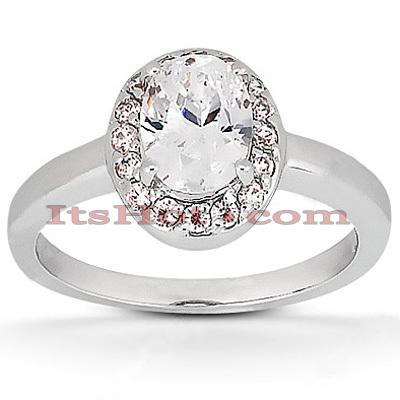 Halo 14K Gold Diamond Engagement Ring Mounting 0.12ct