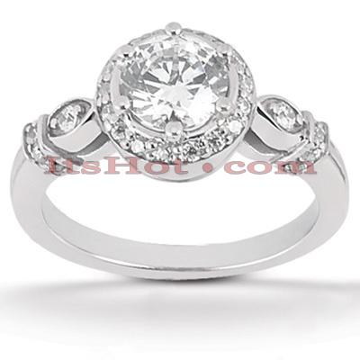 Halo 14K Gold Diamond Engagement Ring Mounting 0.18ct