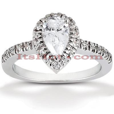 Halo 14K Gold Diamond Engagement Ring Mounting 0.20ct