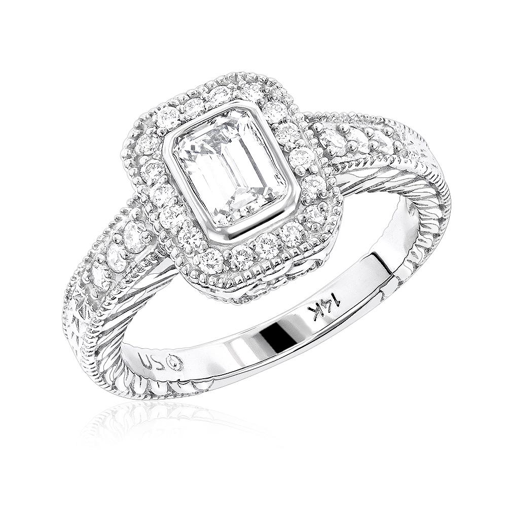 Halo 14K Gold Diamond Engagement Ring Mounting 0.31ct