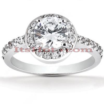 Halo 14K Gold Diamond Engagement Ring Mounting 0.32ct