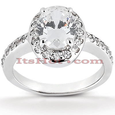 Halo 14K Gold Diamond Engagement Ring Mounting 0.32ct