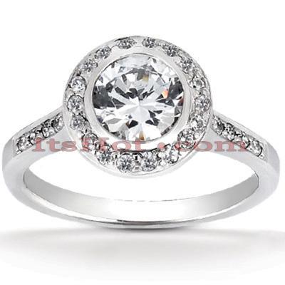 Halo 14K Gold Diamond Engagement Ring Mounting 0.33ct