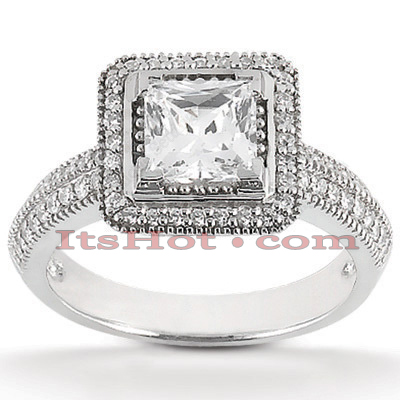 Halo 14K Gold Diamond Engagement Ring Mounting 0.34ct