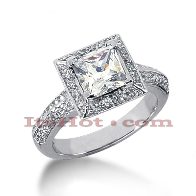 Halo 14K Gold Diamond Engagement Ring Mounting 0.36ct