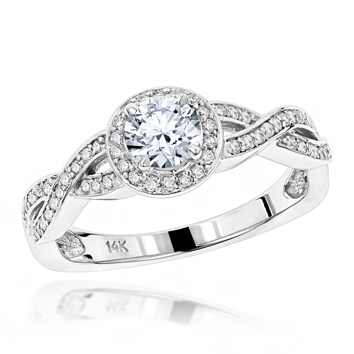 Halo 14K Gold Diamond Engagement Ring Mounting 0.38ct