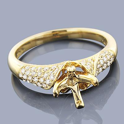 14K Gold Diamond Engagement Ring Mounting 0.36ct