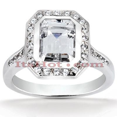 Halo 14K Gold Diamond Engagement Ring Mounting 0.37ct