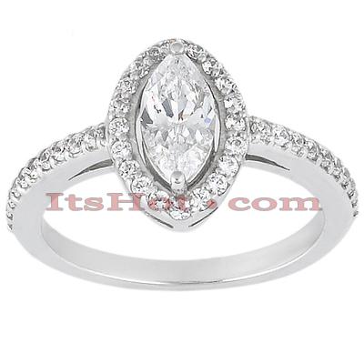 Halo 14K Gold Diamond Engagement Ring Mounting 0.40ct