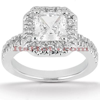 Halo 14K Gold Diamond Engagement Ring Mounting 0.42ct