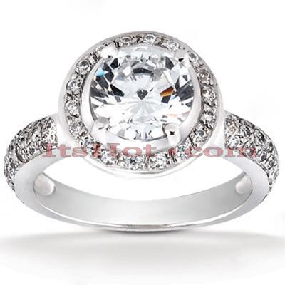 Halo 14K Gold Diamond Engagement Ring Mounting 0.44ct