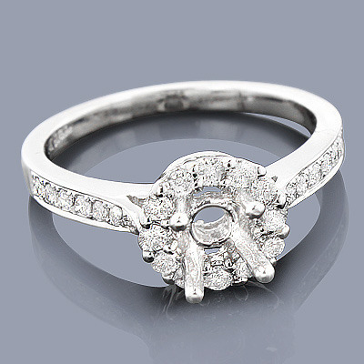 Halo 14K Gold Diamond Engagement Ring Mounting 0.45ct
