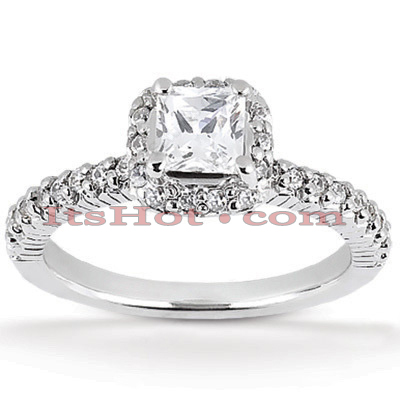 Halo 14K Gold Diamond Engagement Ring Mounting 0.46ct