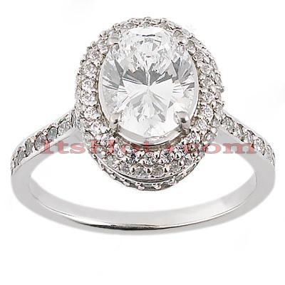 Halo 14K Gold Diamond Engagement Ring Mounting 0.47ct