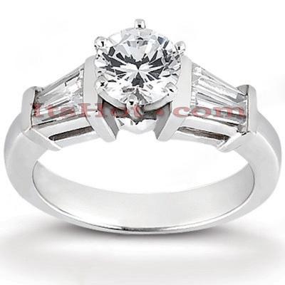 Thin 14K Gold Diamond Engagement Ring Mounting 0.48ct