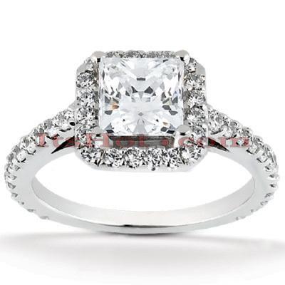 Halo 14K Gold Diamond Engagement Ring Mounting 0.48ct