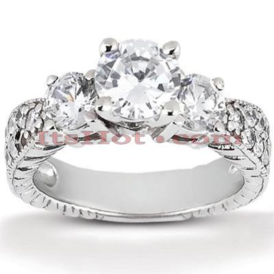14K Gold Diamond Engagement Ring Mounting 0.48ct