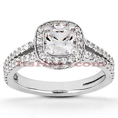 Halo 14K Gold Diamond Engagement Ring Mounting 0.49ct