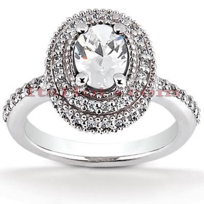 Halo 14K Gold Diamond Engagement Ring Mounting 0.50ct