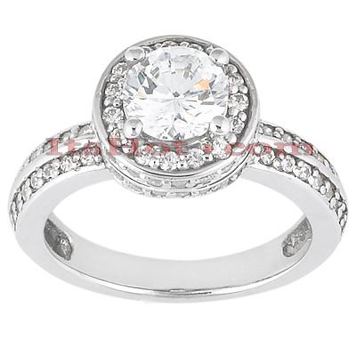 Halo 14K Gold Diamond Engagement Ring Mounting 0.51ct