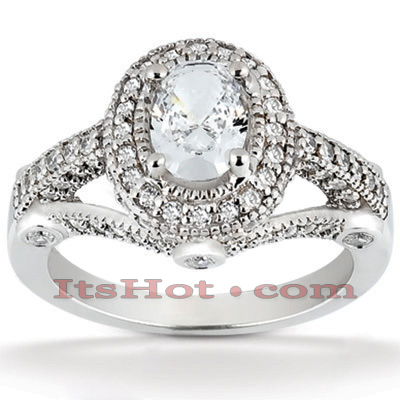 Halo 14K Gold Diamond Engagement Ring Mounting 0.53ct