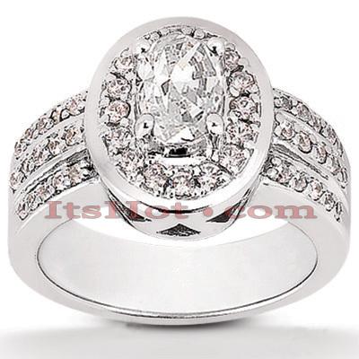 Halo 14K Gold Diamond Engagement Ring Mounting 0.54ct