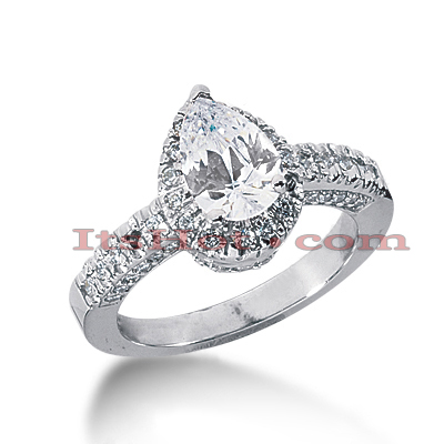 Halo 14K Gold Diamond Engagement Ring Mounting 0.55ct