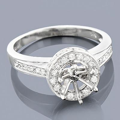 Halo 14K Gold Diamond Engagement Ring Mounting 0.56ct