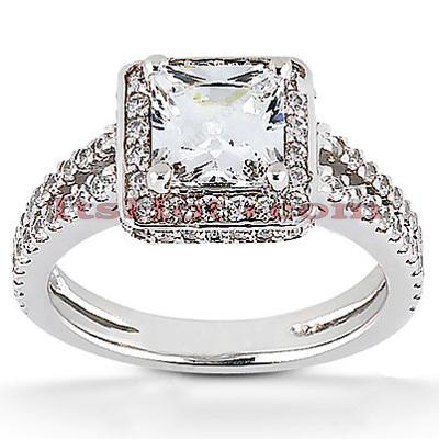 Halo 14K Gold Diamond Engagement Ring Mounting 0.57ct