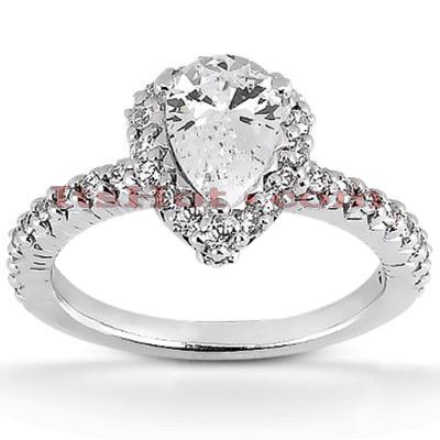 Halo 14K Gold Diamond Engagement Ring Mounting 0.58ct