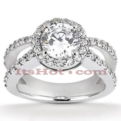Halo 14K Gold Diamond Engagement Ring Mounting 0.60ct