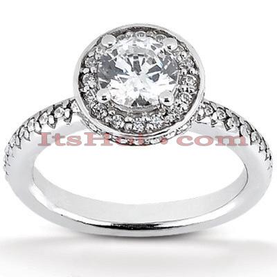 Halo 14K Gold Diamond Engagement Ring Mounting 0.61ct