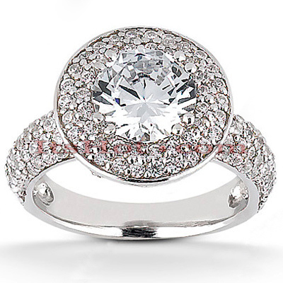Halo 14K Gold Diamond Engagement Ring Mounting 0.63ct