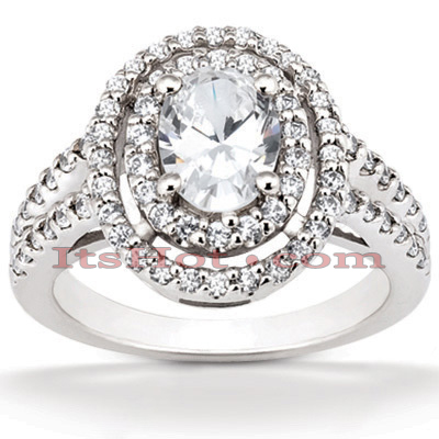 Halo 14K Gold Diamond Engagement Ring Mounting 0.64ct