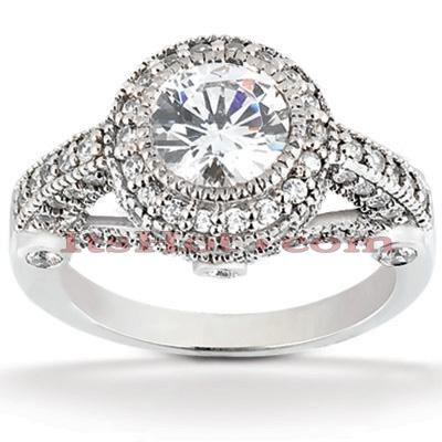 Halo 14K Gold Diamond Engagement Ring Mounting 0.69ct
