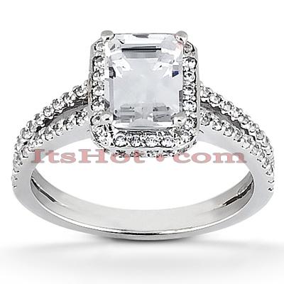 Halo 14K Gold Diamond Engagement Ring Mounting 0.71ct