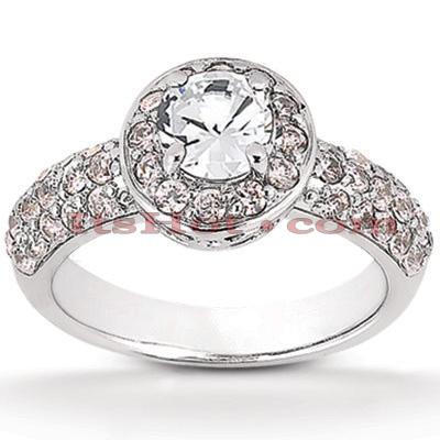 Halo 14K Gold Diamond Engagement Ring Mounting 0.72ct