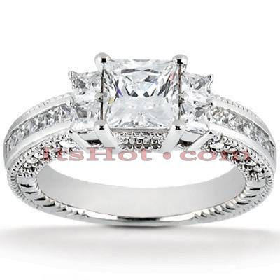 14K Gold Diamond Engagement Ring Mounting 0.74ct